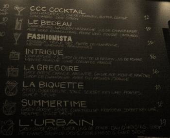 Le tableau des cocktails et les pictogrammes !