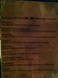 La carte des cocktails sans prix !!!!