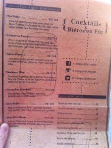 La carte  des cocktails !!!