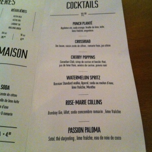 la carte des cocktails...