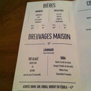 la carte des breuvages et cocktails...