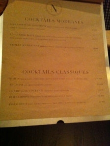 La carte des cocktails....