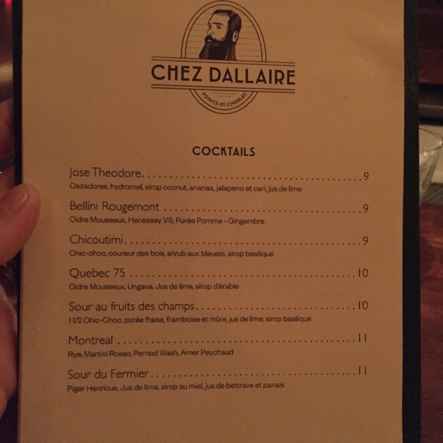 La carte des cocktails...