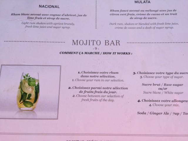 La carte du Mojito Bar ...